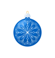 Christmas Blue Ball with Snowflake Isolated vector image