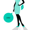 Womans silhouette image in blue vector image