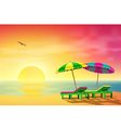 Sun Loungers on Beach vector image vector image