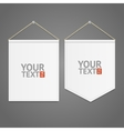 White Pennant Template Hanging on Wall vector image