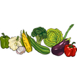vegetables big group cartoon vector image