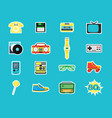 cartoon eighties style symbol color icons set vector image