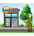 An old man standing in front of the locksmith vector image vector image