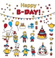 Set of birthday party elements with kids vector image