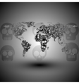 World map in the form of skulls background vector image