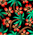 Hand drawn tropical palm and hibiscus seamless vector image