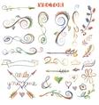 Doodle decor elements setColored crayon vector image