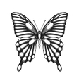 black and white butterfly with watercolor effect vector image vector image