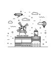 Moulin Rouge outline vector image