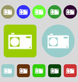Photo camera sign icon Digital symbol 12 colored vector image