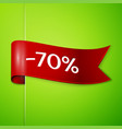 Red ribbon with text seventy percent for discount vector image