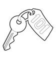 Room key at hotel icon outline style vector image