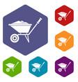 wheelbarrow icons set vector image