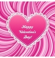 Pink lacy heart on wavy lines background vector image