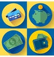 icon Set Wallet credit card piggi and vector image