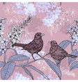 Sketch of a Birds and Flowers vector image vector image