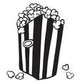 black and white bag of popcorn vector image