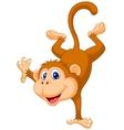 Cute monkey cartoon standing in its hand vector image