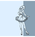 Fashionable woman in short dress vector image