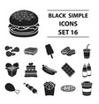 fast food set icons in black style big collection vector image