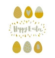 Greeting card Easter eggs and lettering vector image