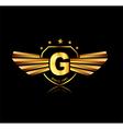 Letter G winged crests logo Alphabet logotype vector image