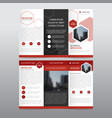 red hexagon business trifold leaflet brochure vector image