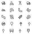 Road Outline Icons 6 vector image