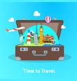 travel concept with open suitcase card poster vector image