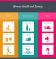 Health and woman beauty infographics vector image vector image