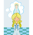 Cute little girl Praying to Blessed Virgin Mary vector image