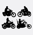 Male and female riding vintage motorcycle silhouet vector image vector image