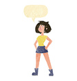 cartoon capable woman with speech bubble vector image