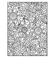 Background with line flowers for adult coloring vector image