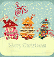 Christmas houses and snow vector image vector image