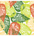 grunge pattern with leaves on white background vector image