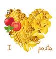 pasta heart vector image