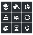 Set of Firewood in the forest Icons vector image