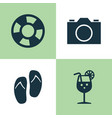 summer icons set collection of lifesaver video vector image
