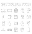 types of household appliances outline icons in set vector image
