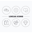 Love heart diamond and wedding rings icons vector image