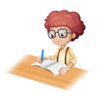 Cartoon Student Writing vector image vector image
