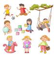 children little boys girls playing outdoor games vector image