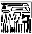 Silhouettes of Work Tools Instruments Set vector image