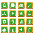 halloween icons set green vector image