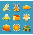 Cereal cultivation and farming sticker icon set vector image vector image