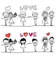 cartoon hand-drawn love character vector image
