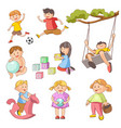 children little boys girls playing outdoor games vector image