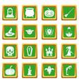 halloween icons set green vector image