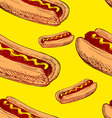 Seamless background with hot dog vector image